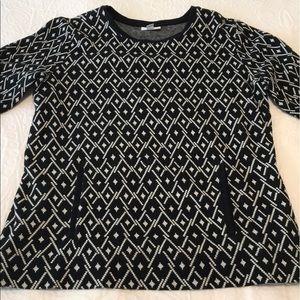 J. Jill Diamond Kangaroo Pocket Sweater M